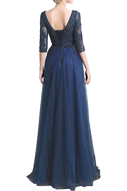 Sunvary Romantisch Rund Damen Spitze Tuell Arm Abendkleider Lang  Mutterkleider: Amazon.de: Bekleidung