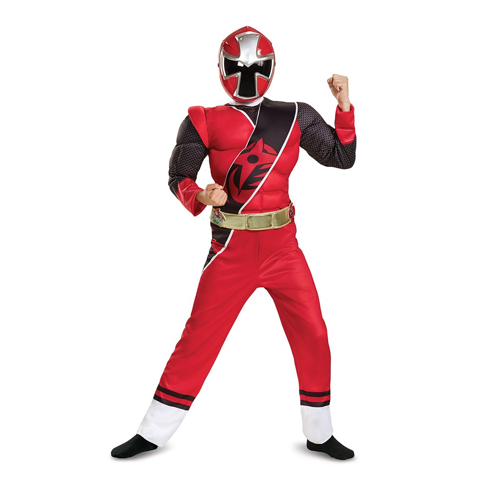Disguise Power Rangers Ninja Steel Muscle Costume, Red, Small (4-6)
