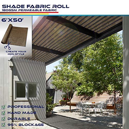 Windscreen4less Brown Sunblock Shade Cloth,95% UV Block Shade Fabric Roll 6ft x 50ft from Windscreen4less