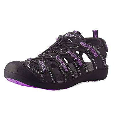 GRITION Damen Outdoor Sandalen Sport Wandern Sandalen Schnelle Trockene Schützende Zehenkappe Sommer Schuhe Violett / Schwarz (36 EU, Violett)