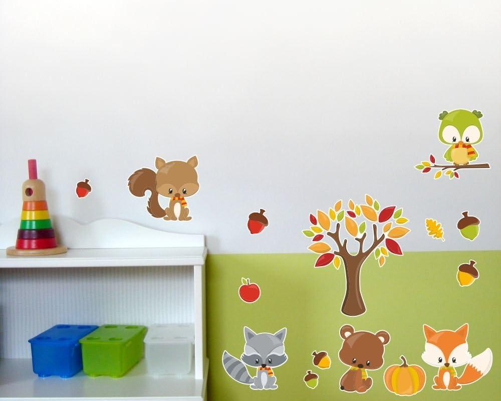 De 24 piezas Oto/ño Animales pared adhesivo decorativo para habitaci/ón infantil 2x 21x34cm multicolor