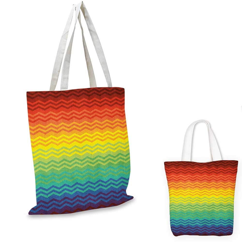 Fiesta canvas messenger bag Mexican Inspired Colorful Chevron Zigzags Three Dimensional Pattern Tribal Culture canvas beach bag Multicolor 12x15-10