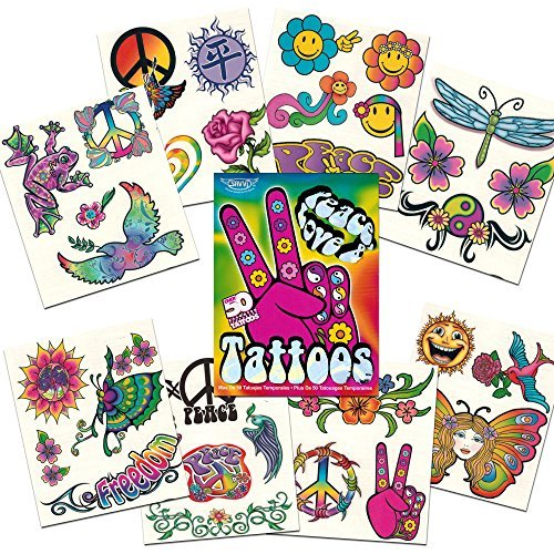 Hippie Temporary Tattoos Party Favor and Costume Set (50 Love and Peace Sign Temporary Tattoos) ()