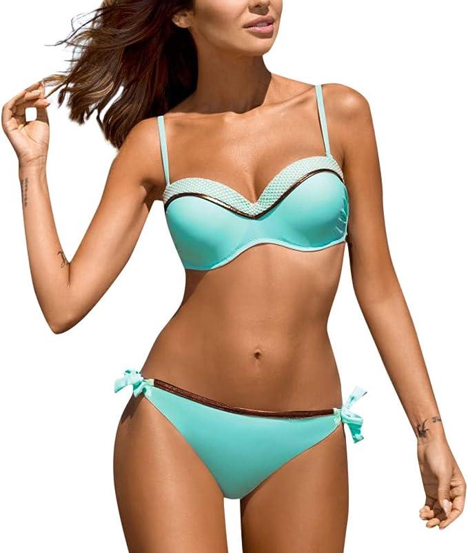 Damen Push Up Gepolstert Bikini BH Set Bademode Hohe Taille Badeanzug Übergröße