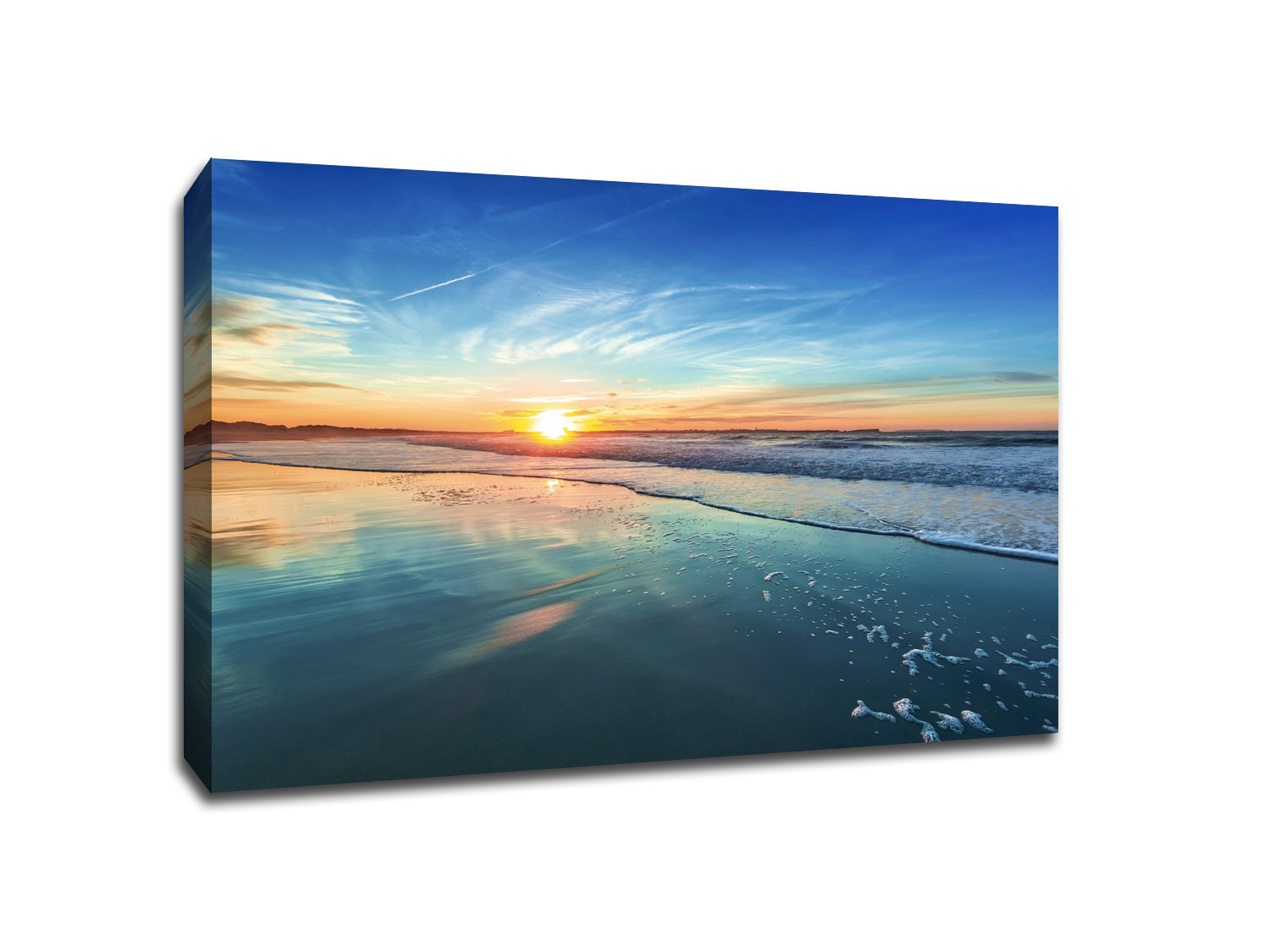 Sunset Beach - Water Landscapes - 48x36 Gallery Wrapped Canvas Wall Art