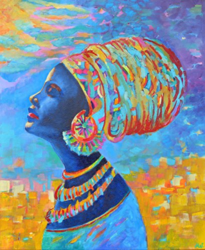 20 Original Black Inkjet (Black Woman CANVAS PRINT 18x22 Black Beauty Painting African Head Face People Picture Art Afro Wall decal Africa decor Blue yellow oil Artwork for room decoration)