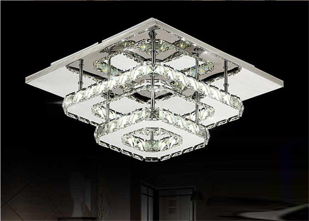 Plafoniere Cristallo E Acciaio : Lampadario di cristallo a led quadrato per corridoio