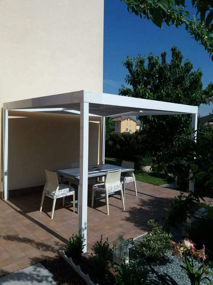 QEEQ.IT - Pérgola de Aluminio, 4 x 3 cm, Color Blanco: Amazon.es: Jardín