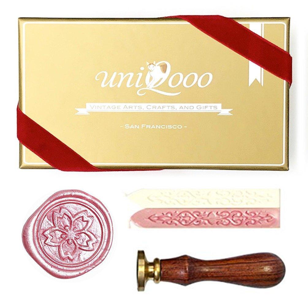 UNIQOOO Arts & Crafts japonés Sakura con sello de cera sello y Set de regalo JIUFAN 4336845701