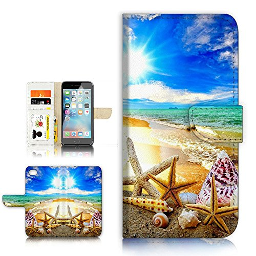 (For iPhone 8 / iphone 7 ) Flip Wallet Style Case Cover, Shock Protection Design with Screen Protector - B31008 Beach Starfish Sea