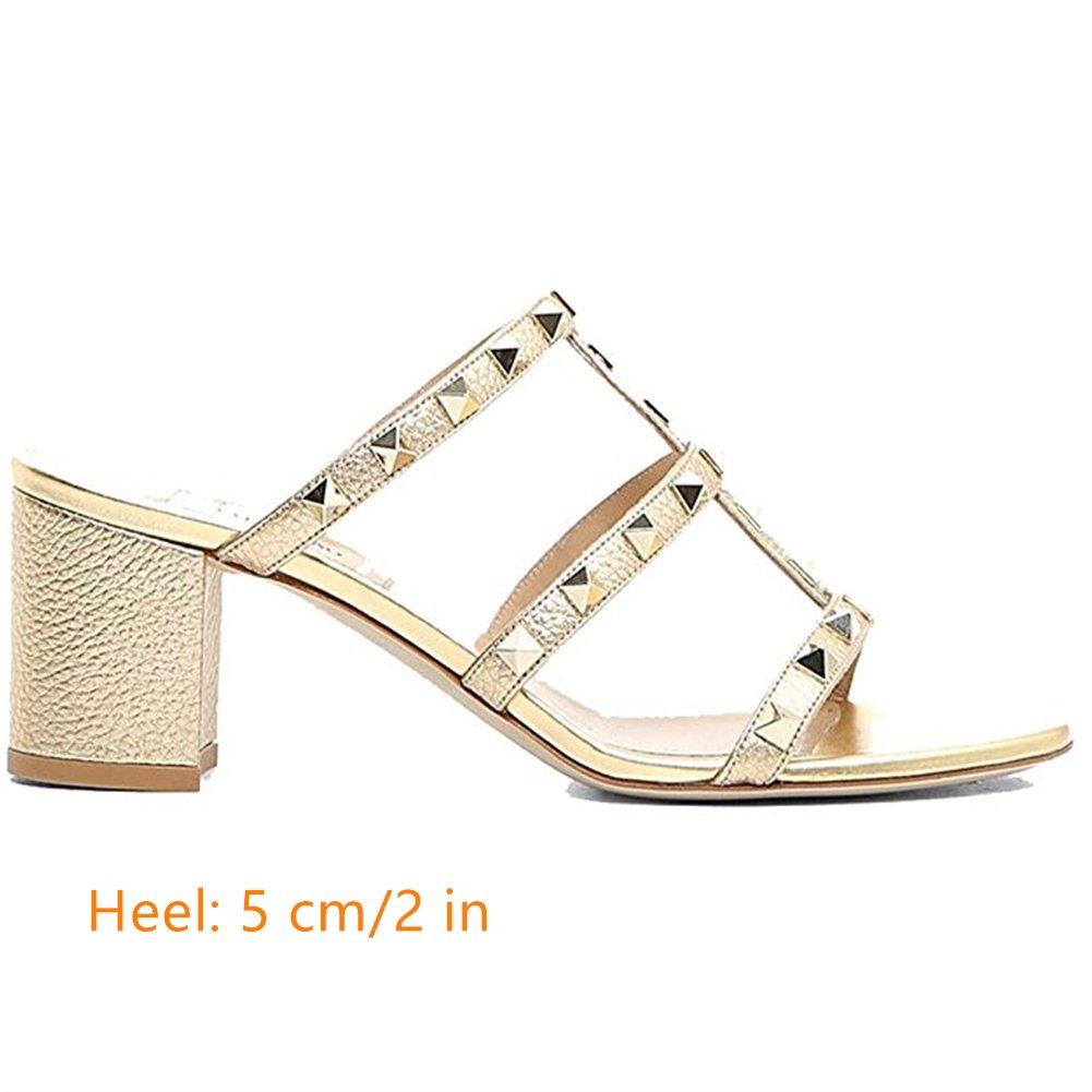 Chris-T Chunky Heels for Womens Studded Slipper Low Toe Block Heel Sandals Open Toe Low Slide Studs Dress Pumps Sandals 5-14 US B07DH73LTB 11 M US|Gold 5cm 011376