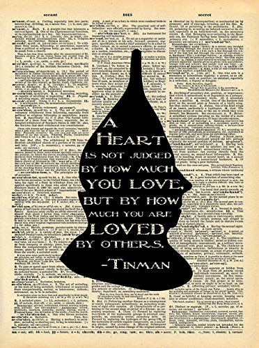 Wizard of Oz Tinman Art - Heart Loved By Others Quote - Vintage Dictionary Print 8x10 inch Home Vintage Art Abstract Prints Wall Art for Home Decor Wall Decor Living Room Bedroom Ready-to-Frame (Heart Wizard Tin Man Oz Of)