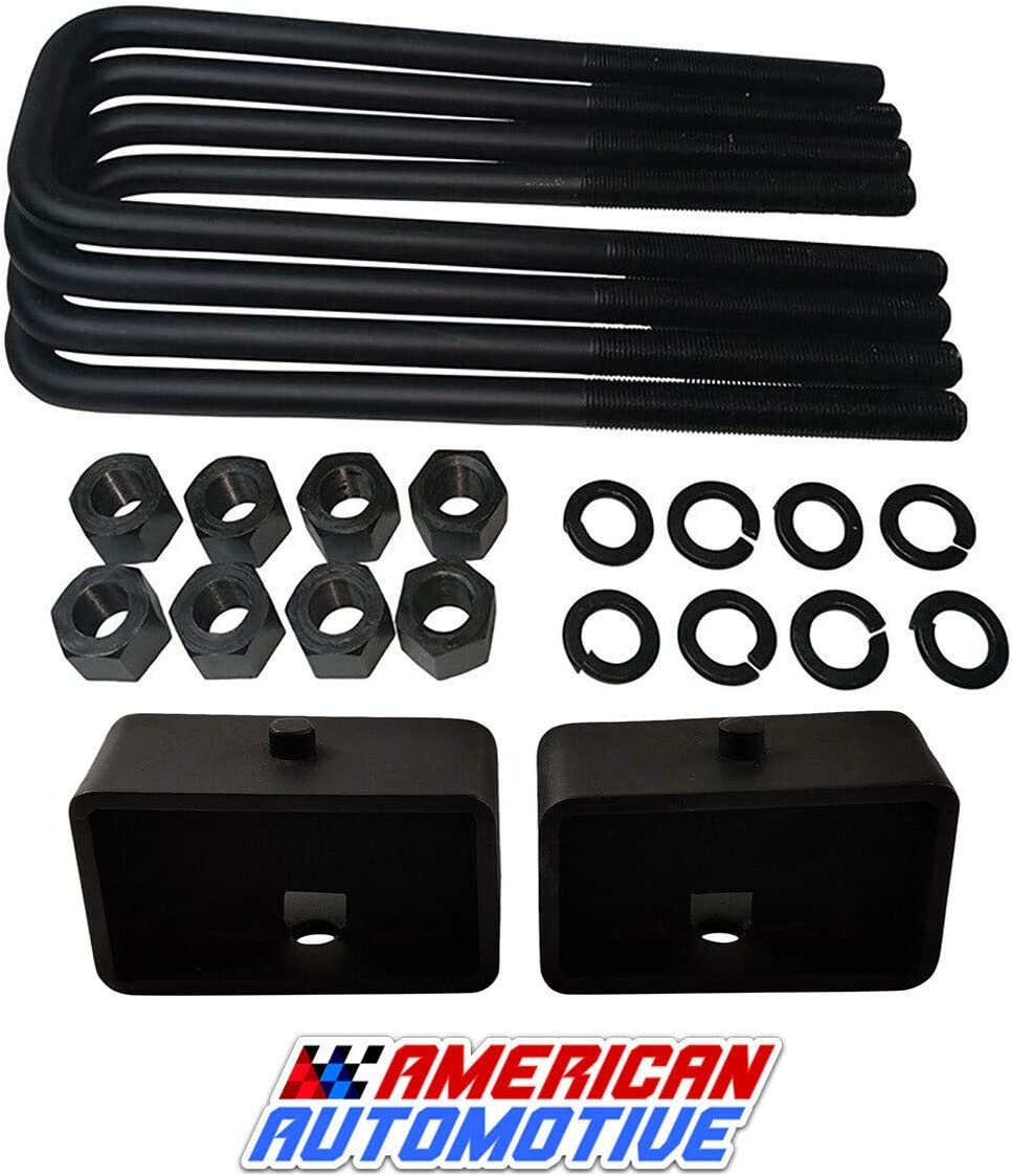 American Automotive 3 Rear Suspension Lift Steel Blocks Extra Long 12 Square Leaf Spring Axle U Bolts