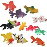 Lot de 12pcs Mini Poisson Rouge en Plastique Figurine Miniature Jouet Coloré