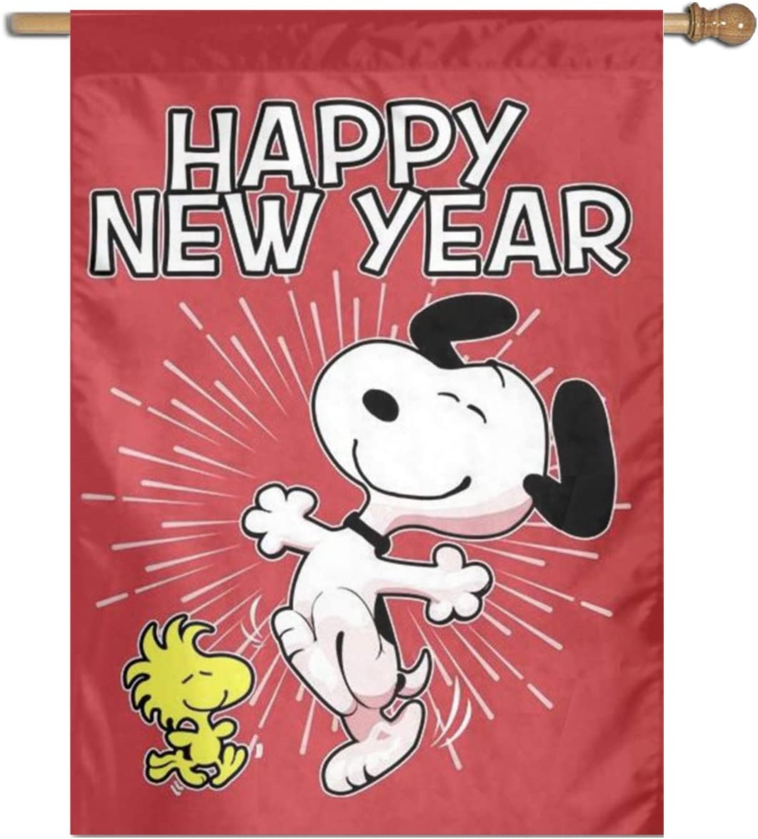 WOMFUI Snoopy Happy New Year Garden Flag Double Sided Pattern Outdoor Decoration for Garden