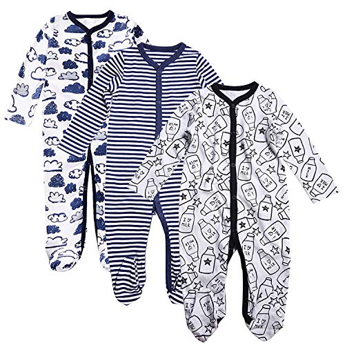 - OPAWO Unisex Baby Footed Pajamas Sleeper-3 Pack Infant Babies Long Sleeve Pjs Toddler Sleepwear (Milk/Blue Striped/Cloud, 9-12 Months)