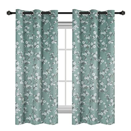 traditional window treatments english hversailtex traditional window drapes aqua floral country style pattern thermal insulated blackout curtain for amazoncom