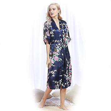 Kimono Mujer Pijama Pijamas Verano Camison Raso Camisones Bata Invierno Batas Medium Textil de Largo Lenceria Saten Seda Albornoz Vestido Noche,navy,2XL: ...