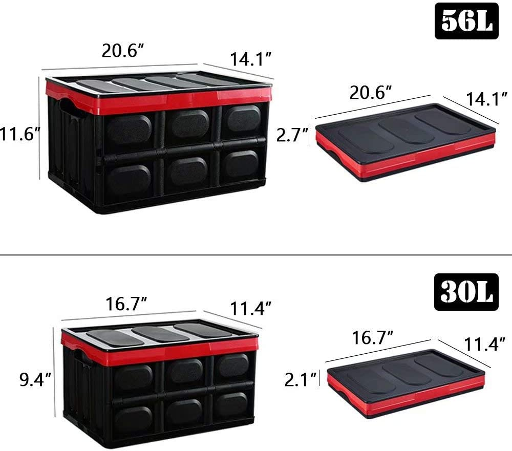 Black,56 Liter Outdoor Xuzog Collapsible Car Trunk Storage Box,Foldable Storage Bin with Lid for Home Garden Travel and Camp