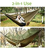 Sportneer Camping Hammock w/ Mosquito Net, Parachute Fabric Double Hammock For Outdoor Travel Indoor Camping Hiking Backpacking Backyard