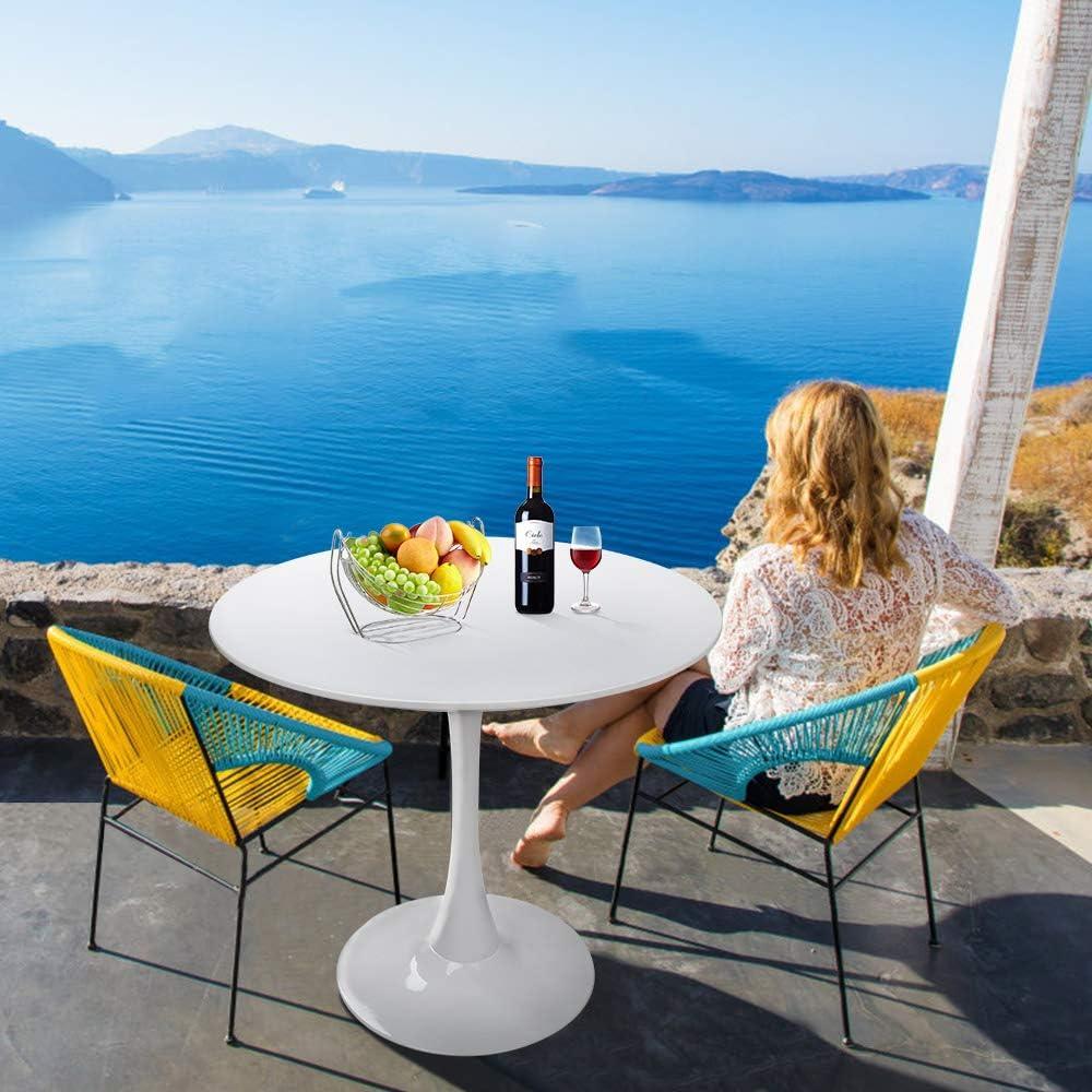 HAYOSNFO Modern Round Dining Table with Pedestal Base in White, Mid-Century Tulip Pedestal Leisure Table: Kitchen & Dining
