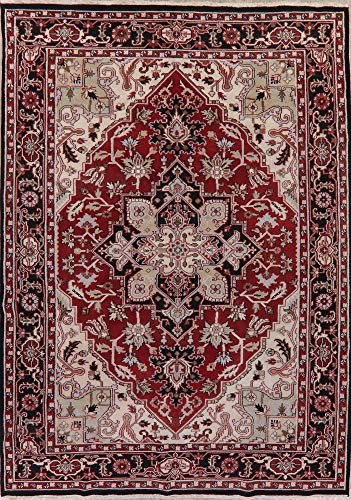Heriz Persian Wool Area Rug - Heriz Serapi Hand-Knotted New Indian Oriental Area Rug Floral 10x14 Persian Wool (13, 7