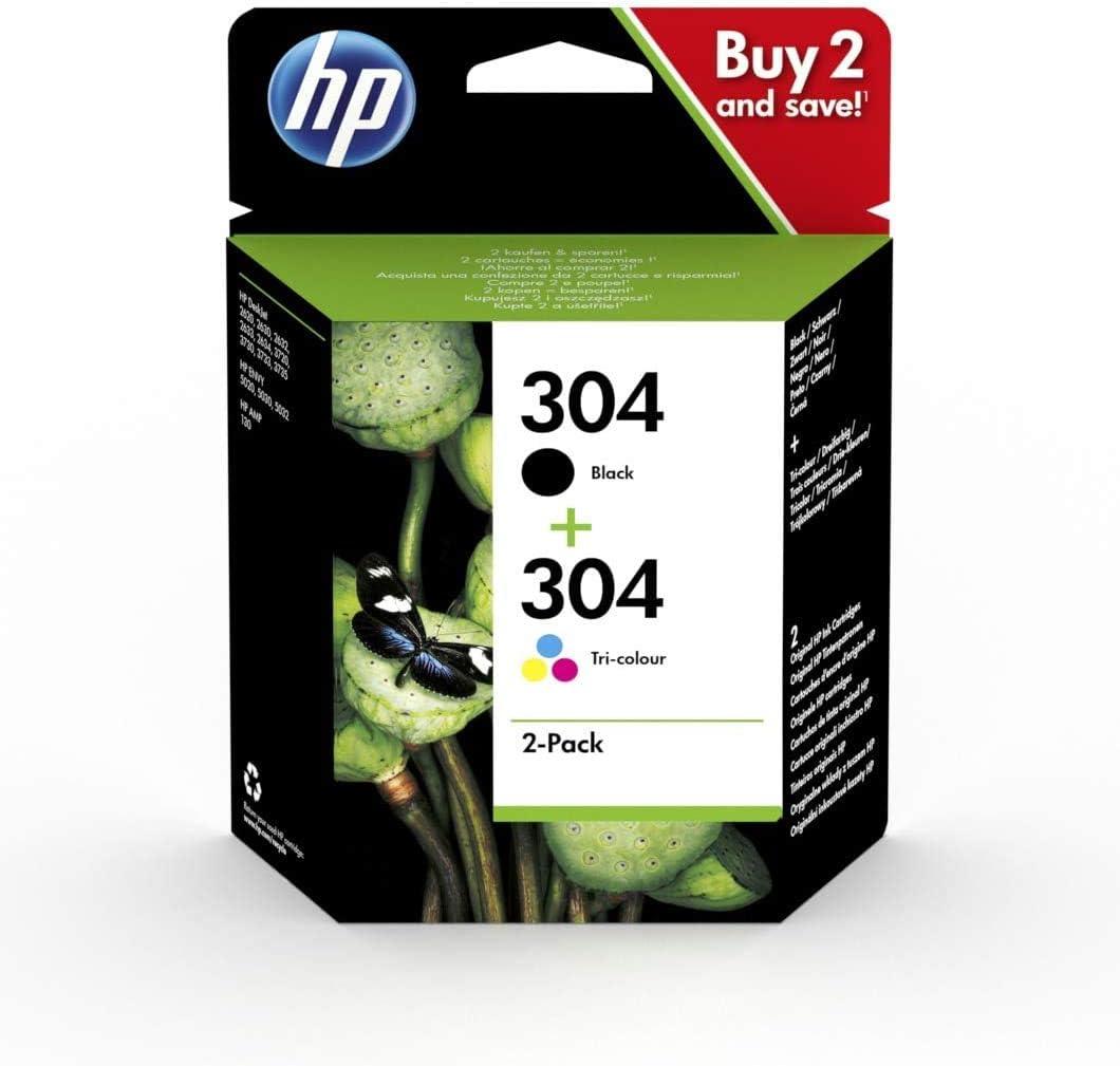 HP 3JB05AE 2 Pack HP 304 Cartucho de inyección de Tinta: Amazon.es: Oficina y papelería