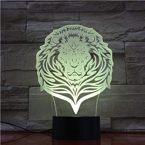 KangYD Art Lion Visual Night Light, Lámpara de mesa LED 3D ...