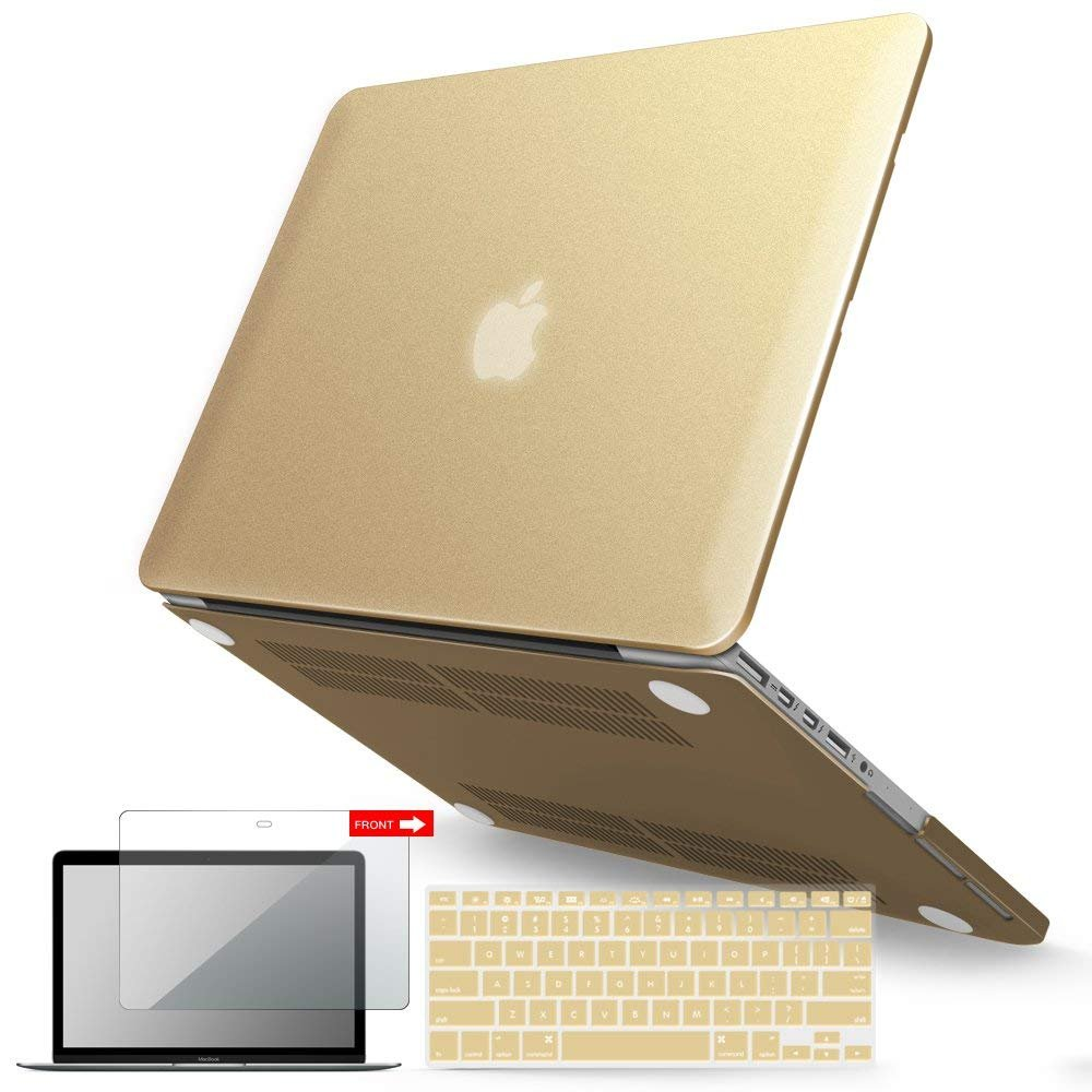 iBenzer Basic Soft-Touch Series Plastic Hard Case, Keyboard Cover, Screen Protector for Apple Previous Generation MacBook Pro 13-inch 13'' with Retina Display A1425/1502, Gold