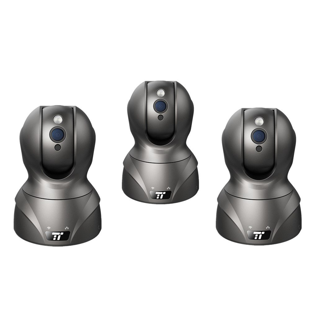 TaoTronics Security Camera with HD Video Streaming, Nanny / Baby / Pet Monitor Cam (1080p High Res, 350 Pan / 100 Tilt / Digital Zoom, Wired + Wireless, IR Night Vision) - 3 Pack