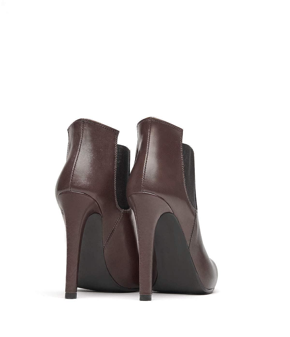 POI Lei Mujer - Zapatos de tacón Botines Liz marrón Stiletto Piel Lisa, Color Marrón, Talla 35 EU: Amazon.es: Zapatos y complementos