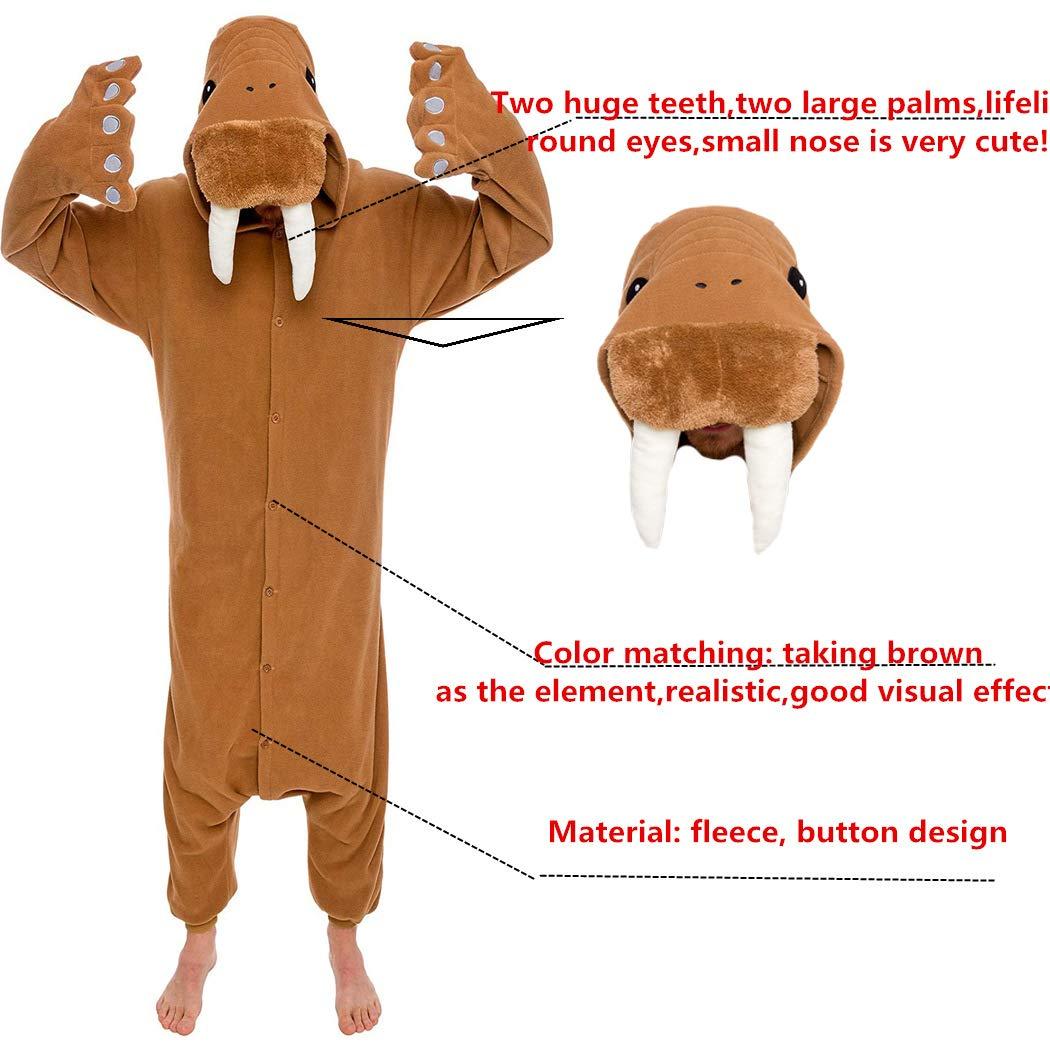 dressfan Animale Tuta Walrus Pigiama Adulto Pigiama Unisex Polar Fleece Costumi Costumi Prestazioni Costume Marrone