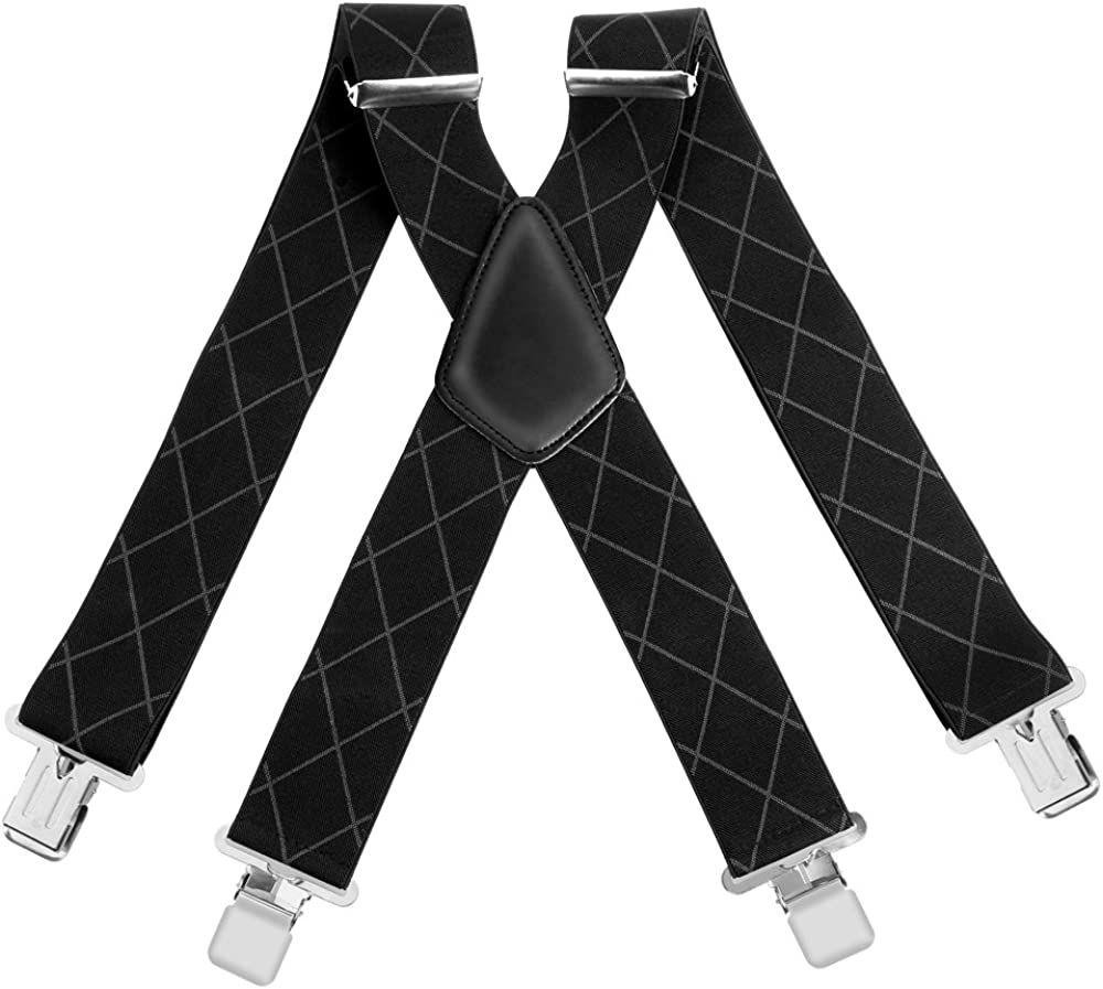 Durable 5CM Wide Mens Braces Suspenders X Style Elastic and Adjustable Trouser Braces With Very Strong Metal Clips
