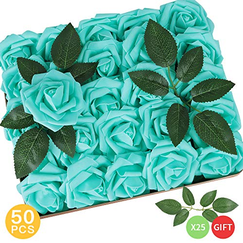 AmyHomie Pack of 50 Real Looking Artificial Roses w/Stem for DIY Wedding Bouquets Centerpieces Arrangements Party Baby Shower Home Decorations (Robin's Egg Blue)