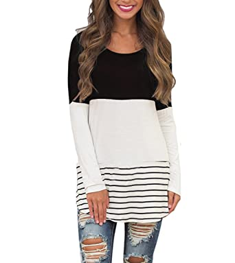da11af0626f Hount Womens Back Lace Color Block Tunic Tops Long Sleeve T-Shirts Blouses  with Striped
