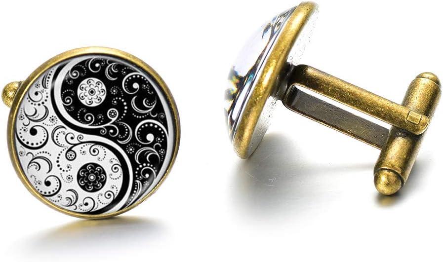 Gemelos de Yin Yang de alta calidad en blanco y negro, 8 diagramas, arte cultural, gemelos, cúpula de cristal de alta calidad para botones de camisa de hombre