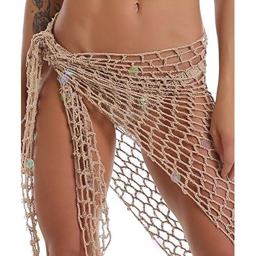 La plage de crochet de femmes couvre la couverture de filet de bikini avec des coquillages sequin robes de plage