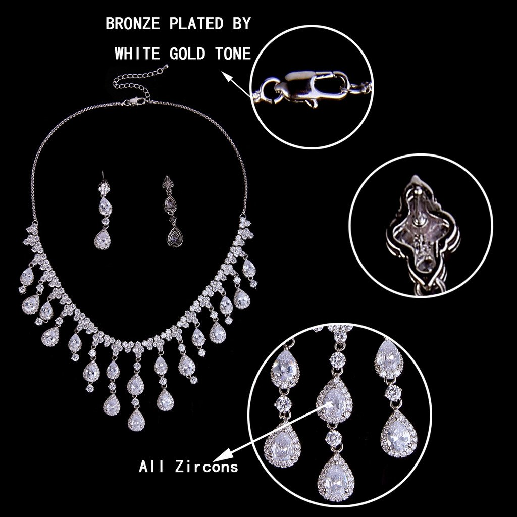 EVER FAITH Womens Cubic Zirconia Gorgeous Water Drop Dangle Necklace Earrings Set Silver-Tone