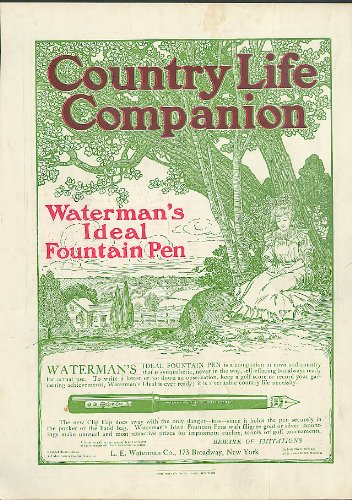 Waterman's Ideal Fountain Pen companion in town & country ad 1905