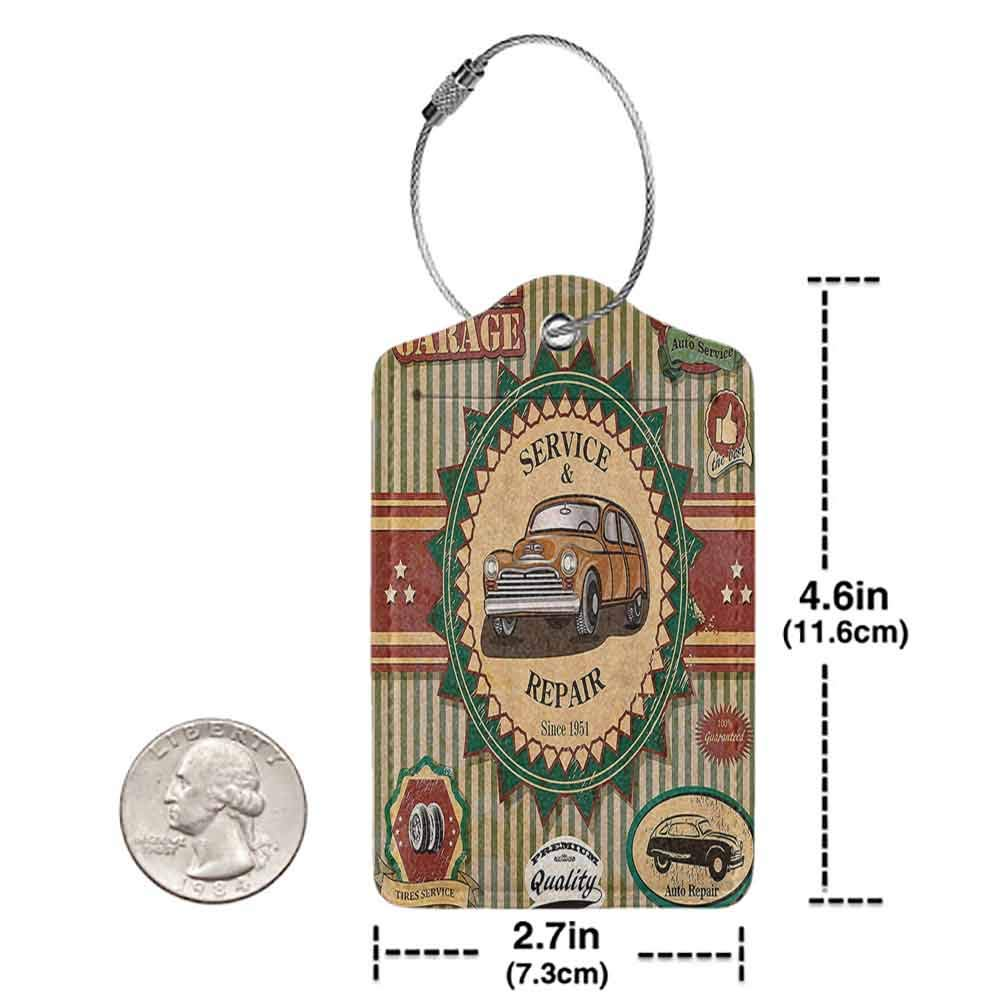 Decorative luggage tag 1960S Decor Collection Of Vintage Retro Car Label In Faint Color Sixties Dated Irony Pop Art Work Suitable for travel Green Red Cream W2.7 x L4.6