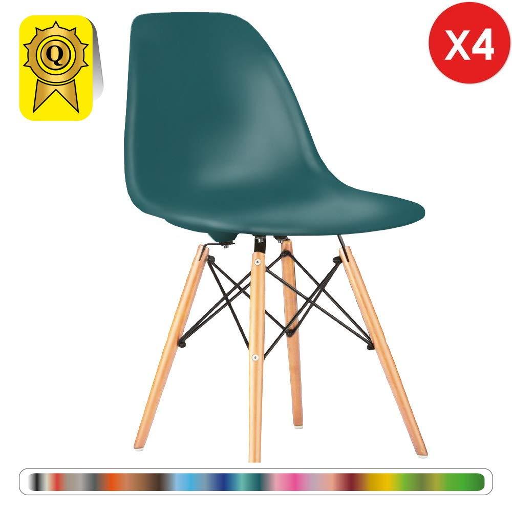 Decopresto 4 x Chair Designer Gambe Arancione Flash DP-DSWL48-OF-4 Legno Naturale Sedile