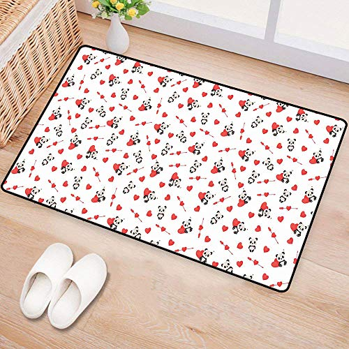 (WilliamsDecor LoveDoor mat customizationCute Panda Bear in Love Sitting with Vivid Valentines Hearts and ArrowsHard and wear Resistant W16 xL24 Vermilion Beige)