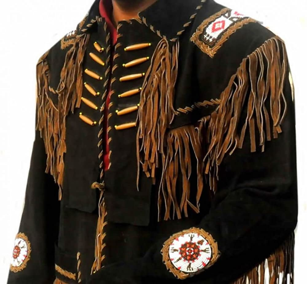 Vipconnection Mens Western Cowboy Genuine Suede Leather Jacket with Fringe 01