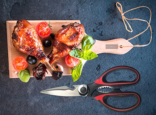 NOVASKO Premium Heavy Duty Kitchen Shears (Black/Red)