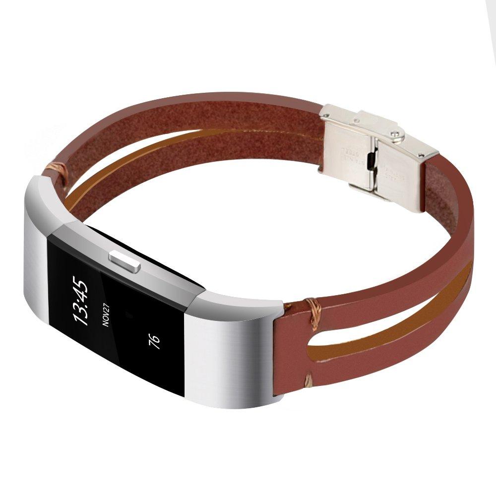 somoder Fitbit Charge 2用バンド ハンドメイド ヴィンテージ ファッション 合金 レザーブレスレット Fitbit Charge 2 調節可能サイズ 5.5インチ - 8.5インチ B07D4FLRN3
