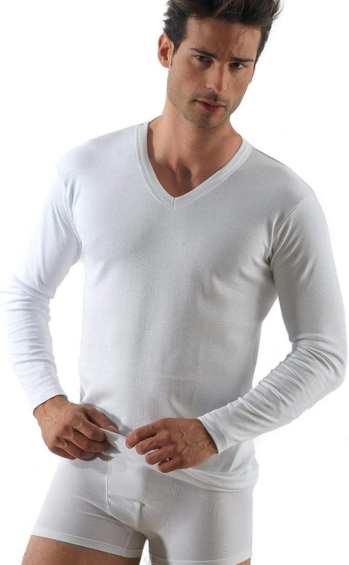 ROSSOPORPORA, 3 Pares de Camisetas íntimas para Hombre de Manga Larga y Cuello en V de cálido algodón Interlock.: Amazon.es: Ropa y accesorios