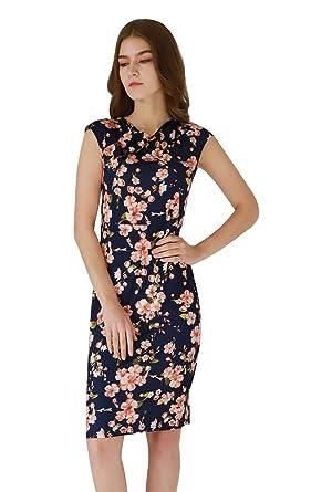 6607103b94 YMING Femmes Robe Moulante Manches Courtes pour Robe Fourreau à imprimé  Floral,Robe Mi-Longue: Amazon.fr: Vêtements et accessoires