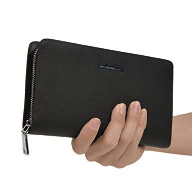 c4be66af0448 BALIDIYA Mens Clutch Purse Wallets Genuine Leather Handbag Organizer Bags  Business card holder (Black Blue)