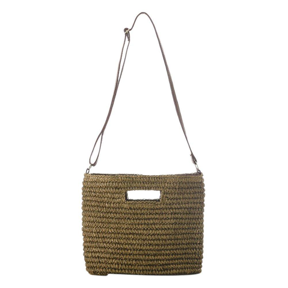 sac de sac /à bandouli/ère de sac de sac /à bandouli/ère de sac de plage d/ét/é simple pour des femmes de fille caf/é l/éger Gaeruite Sac tiss/é par paille fait main