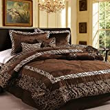 Dovedote 15 Piece, Luxury Safarina Zebra Animal Print Comforter and Curtain Set, Queen, Brown
